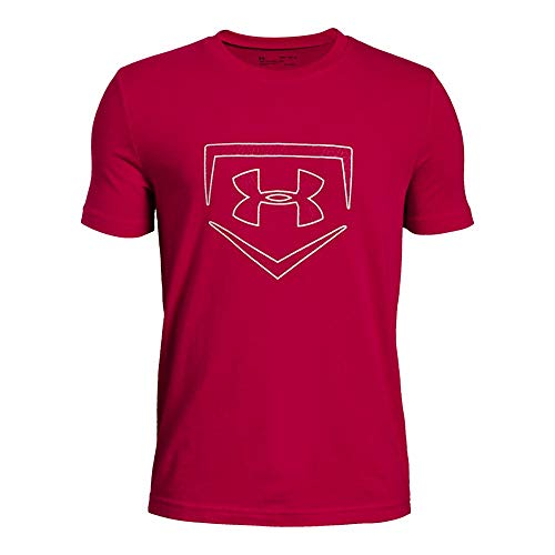(Under Armour Boys IL Graphic S/Plate Icon, Red (600)/Metallic Silver, Youth X-Large)
