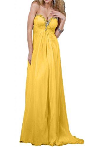 Novia de Gasa de noche en forma de corazón diseño de la Toscana de largo vestidos de madrinas bola para mujer vestidos de fiesta dorado