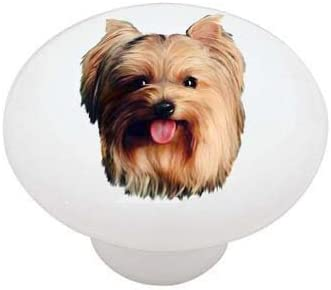 SET OF 2 KNOBS Dogs DECORATIVE Glossy CERAMIC Cupboard Cabinet PULLS Dresser Drawer KNOBS Yorkshire Terrier Yorkie Dog