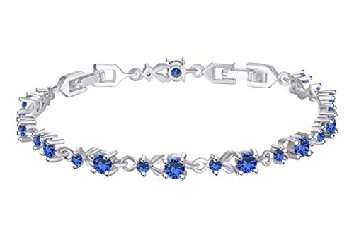- AFFY 14k White Gold Over Sterling Silver Leaf Shape Tennis Bracelet Round Shape Simulated Sapphire 7.5