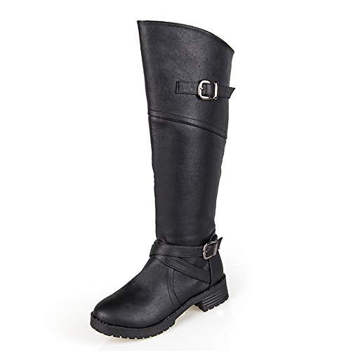 Zip Boots Women's Boots Leather Heel Over Autumn Ladies Cowboy Western up Winter Newday Boots Black Knee Low High Heaven Slouch qI47xBw