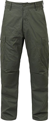Olive Drab Solid Military Rip-Stop BDU Cargo Fatigue Pants