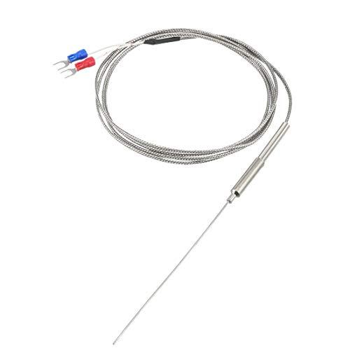 uxcell K Type Temperature Sensor Probe 1.5M Cable 1mmx100mm Probe Thermocouple 32~1472°F (0~800°C)