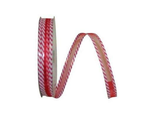 Ribbon Art Craft Decoration 5 Yds. RED Sheer Candy Cane Stripe Holiday Wire Edge Ribbon 5/8