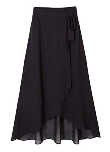 chouyatou Women's Lovely Bow-Knot Waist Stretched Flare Tulip Jersey Long Skirts (X-Small, Chiffon Black)