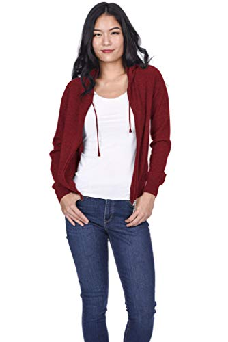 State Cashmere Women's 100% Pure Cashmere Full Zipper Hoodie (Medium, Burgundy)