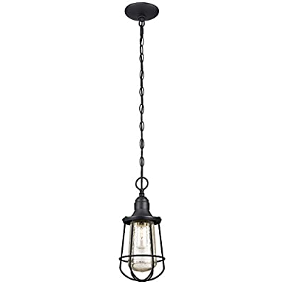 Westinghouse 6203000 Elias 1 Light Industrial Outdoor Pendant, Textured Black