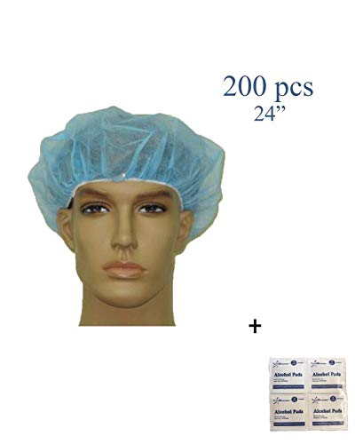 - Disposable Bouffant (Hair Net) Caps, Spun-Bounded Poly, Hair Head Cover Net, Non-Woven, Medical, Labs, Nurse, Tattoo, Food Service, Health, -Bonus Starryshine Alcohol Pads (24 INCH, BLUE (200 PCS))