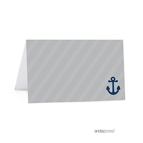 Andaz Press Nautical Table Tent Place Cards, Nautical Blank, 20-pack, For Themed Party Favors, For Ocean Sailor Decor, Decorations, Stationery -