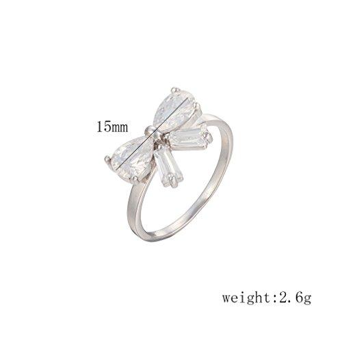 YAZILIND 18K Elégant Mignon Cristal bowknot Anneau blanc Couleur Engagement Première Plaqué Argent