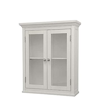 Merveilleux Classique Elegant Wood Wall Cabinet (White), Two Glass Doors, Shelf,  Bathroom