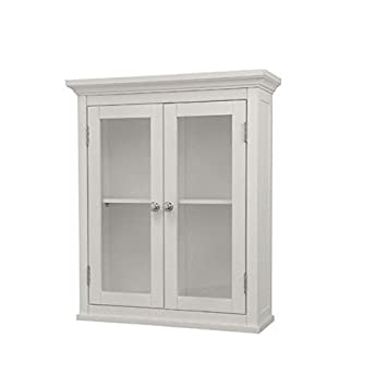 Classique Elegant Wood Wall Cabinet White Two Glass Doors Shelf Bathroom