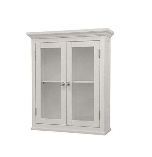 Classique Elegant Wood Wall Cabinet (White), Two Glass Doors, Shelf, Bathroom, Kitchen, Toiletries Medicine Storage