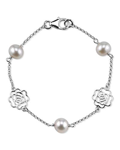THE PEARL SOURCE 7-8mm Genuine White Freshwater Cultured Pearl Fiona Bracelet for Women