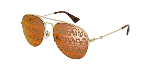 Gucci GG 0107 S- 002 GOLD / ORANGE - 711 Sunglasses