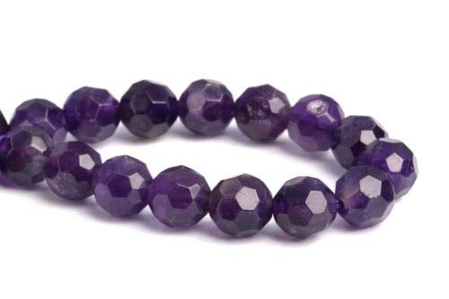 8mm Genuine Natural Amethyst Grade Micro Faceted Round Loose Beads 7.5'' Crafting Key Chain Bracelet Necklace Jewelry Accessories Pendants (Genuine Mlb Necklace)