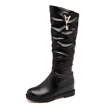 Heart&M Mujer Zapatos PU Otoño Invierno Confort Botas Tacón Plano Dedo redondo Pedrería Para Blanco Negro Rosa black