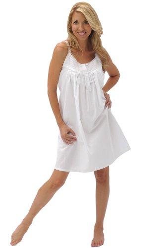 Del Rossa Womens Priscilla Cotton Nightgown, Victorian Sleeveless Sleepwear