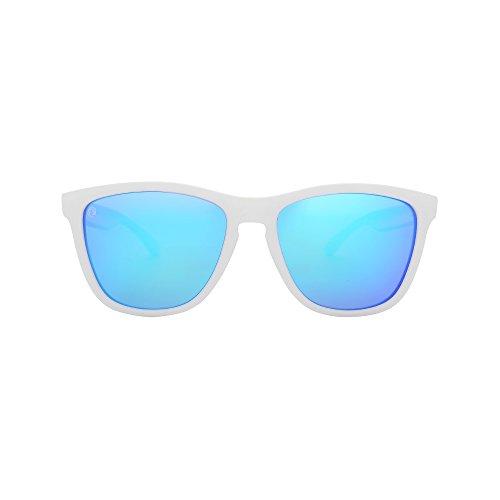 Woosh Polarized Blue Lens Sunglasses for Men and Women White Wayfarer Matte Frame UV400 Eyewear for Sports and Running -