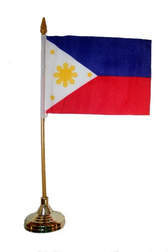 Philippines Small 4 X 6 Inch Mini Country Stick Flag Banner with GOLD STAND on a 10 Inch Plastic Pole .. New