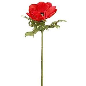 "17.5"" Anemone Silk Flower Stem -Tomato (Pack of 12) 39"