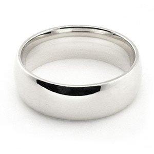 Men's 14k White Gold 6mm Plain Comfort Fit Wedding Band Ring size 9