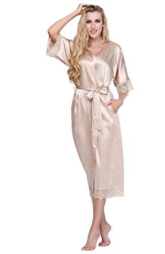 ExpressBuyNow Women's Kimono Robe Long- Lace Trim champagne L