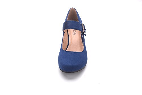 Greens Womens Low Wedge Pump Slip On Shoes (HESTER02) Navy 2zZgNjZ