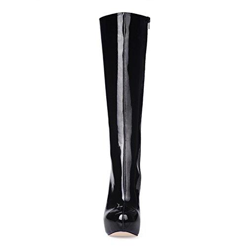 talon la fille boot vernis à black cuir tête chaussures et hautes haut à Black mature ronde ladies Bottes qEatx7