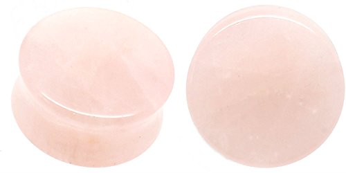 - soscene Rose Quartz Organic Stone Ear Plugs Gauges Sold in Pairs (22mm 7/8 inch)