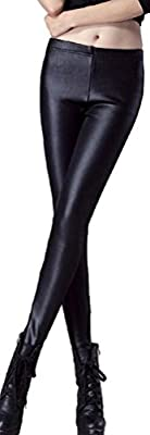 Womens Faux Leather Thick Fleece Lined Leggings Skinny Pants