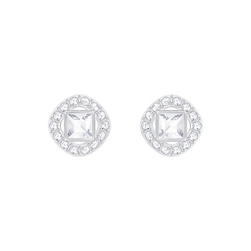 Swarovski Angelic Square Pierced Earrings, White, Rhodium plating