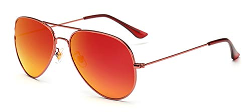 WODISON Vintage Mirrored Aviator Sunglasses for Men/Women Claret-red Frame Red Lens (Mirrored Red Aviators)