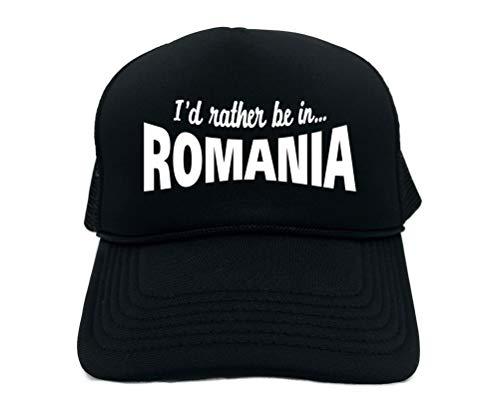 (Funny Trucker Hat (I'd Rather BE in Romania (Balkans) Unisex Adult Foam Cap)