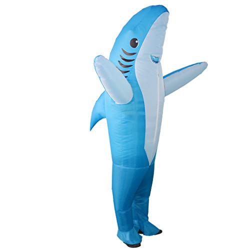 SIREN SUE Inflatable Shark Costumes for a Halloween and Christmas Show Cosplay Jumpsuit Blue]()