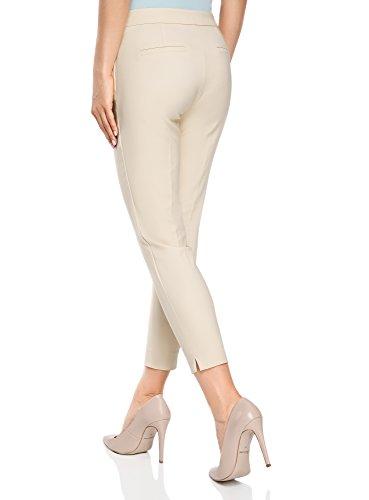 oodji Ultra Mujer Pantalones Ajustados con Cremallera en el Lateral Beige (3300N)