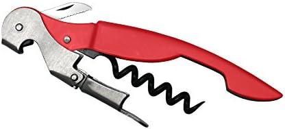 Vin Bouquet FID 194 - Sacacorchos de 2 Tiempos Rojo, Sacacorchos Camarero, Descochador, Abrebotellas de 2 tiempos