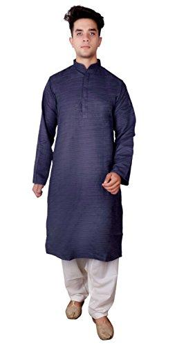 Men Indian Raw Silk Kurta shalwar kameez sherwani for Bollywood theme Diwali Party 1808 (36 (S - UK), Navy Blue)