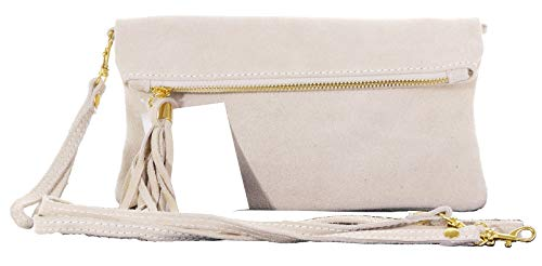 Italian Suede Leather Hand Made Cream Fold Over Clutch, Wrist or shoulder Bag. Includes a Branded Protective Storage Bag.