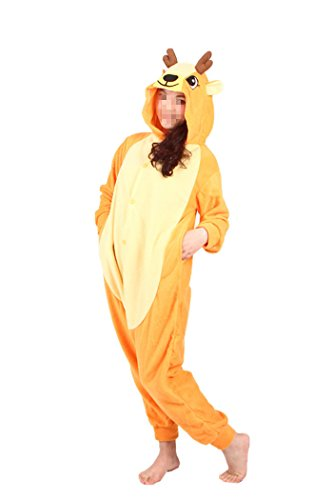 Deer Costumes Womens (WOTOGOLD Animal Cosplay Costume Sika Deer Unisex Adult Pajamas Orange)