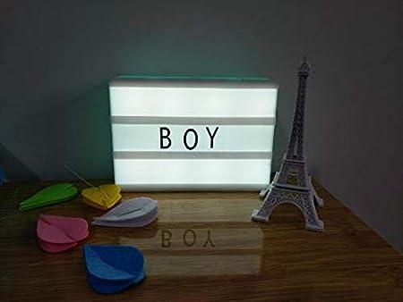Xuniu DIY Caja de luz cinemática de combinación Libre con Letras y Caja Luminosa de LED: Amazon.es: Hogar