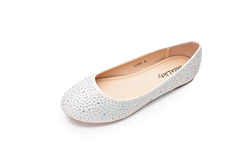 Mila Lady Sparkly Crystals Rhinestone Comfortable Slip On Ballet Flat Shoes for Women Wedding Party Office, Vikki White Size 5.5