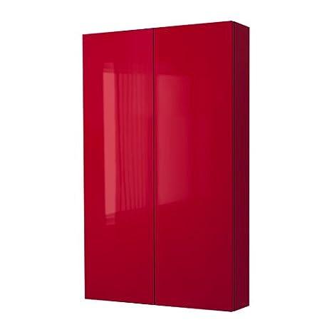 IKEA GODMORGON - Mueble de pared con 2 puertas, de alto brillo 60x14x96 cm rojo: Amazon.es: Hogar