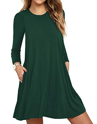 - WEACZZY Women's Long Sleeve Pockets Casual Swing T-Shirt Dresses (02 Long-Dark Green, Medium)