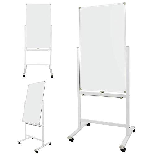 6.2 FT Heighten Dry Erase Board, Light Melamine, Stand Flipchart Easel, Magnetic Reversible Double Sided Whiteboard, 360° Rolling Stand, 4 Wheels with Brakes ()