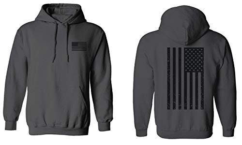 Vintage American Flag United States of America Military Army Marine us Navy USA Hoodie (Charcoal, X-Large)