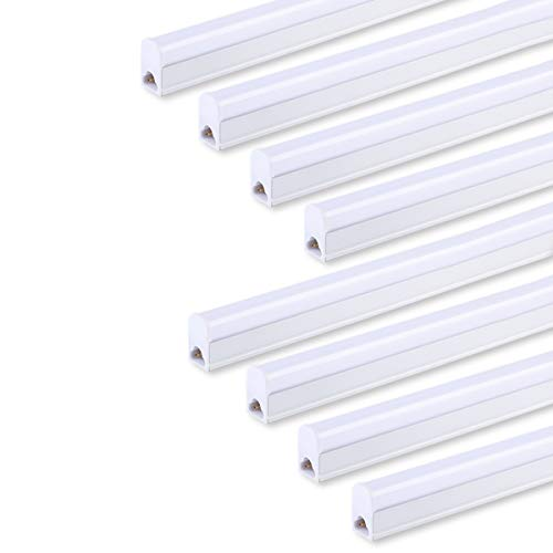 (Pack of 8) LED T5 Integrated Single Fixture 4FT,20W,2200lm,6500K (Super Bright White),Utility led Shop Light, LED Ceiling light and Under Cabinet Light, Corded electric with built-in ON/OFF switch