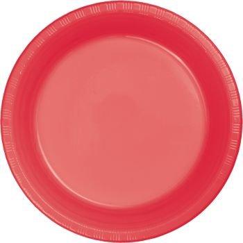 Premium 10-inch Plastic Plates, Coral