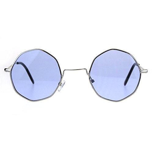 Dopy Color Lens Octagon Metal Wire Rim Pimp Hippie Sunglasses Silver - Glasses Wire Square