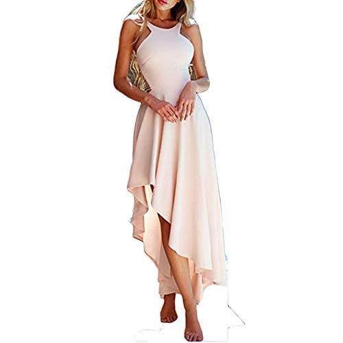 JIZHI Color Vestido Vaina Mujer M Un Beige Asimétrico 44qpCfxwPB